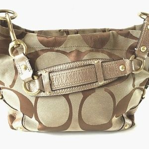 COACH BROWN CARLY SIGNATURE Metallic TRIM ZIP HOBO